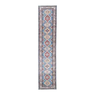 Sky Blue Wool Hand-knotted Super Kazak Runner Rug (2'9 x 12'10)