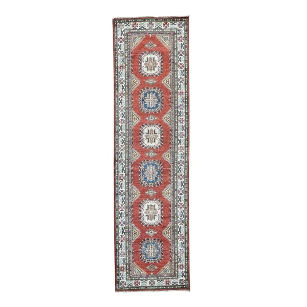 Hand-knotted Tribal Design Wool Super Kazak Runner Rug - 2'10 x 10'2