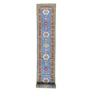 Hand-knotted Super Kazak Geometric Design Runner Carpet (2'5 x 18'7)