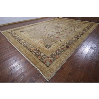 Traditional Oriental Peshawar Brown Wool Hand-knotted Rug (12' 3 x 18' 7)