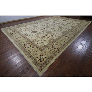 Peshawar Ivory Wool Hand-knotted Oriental Rug (12'3 x 18'8)