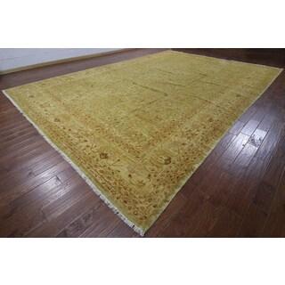 Green Wool Hand-knotted Oriental Peshawar Rug (12'3 x 17'7)