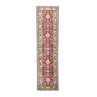 Hand-knotted Super Kazak Tribal Design Runner Rug (3'4 x 13'1)