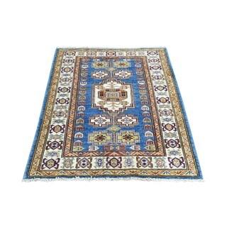 Hand-knotted Denim Blue Tribal Design Super Kazak Rug (2'9 x 3'9)