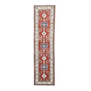 Red/Multicolor Wool Super Kazak Tribal Design Hand-knotted Runner Rug (3'5 x 13'3)