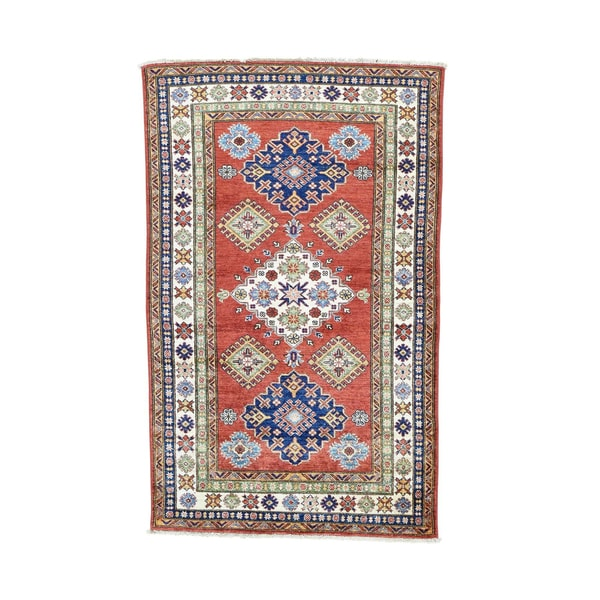 Red Hand-knotted Tribal Design Super Kazak Rug (3'10 x 6'2)