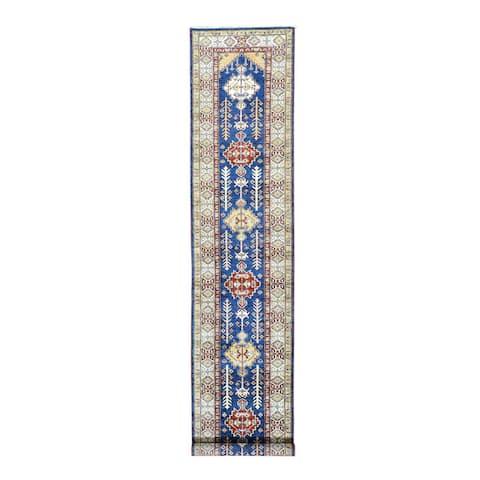 Super Kazak Denim Blue/Multicolor Wool Hand-knotted Runner Rug (2'7 x 13')