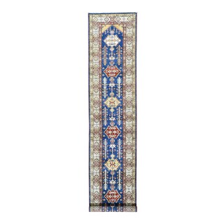 Super Kazak Denim Blue/Multicolor Wool Hand-knotted Runner Rug (2'7 x 13')