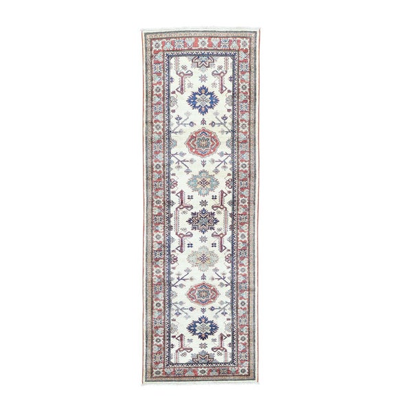 Hand-Knotted Ivory Super Kazak Runner Carpet (2'7 x 8'1)