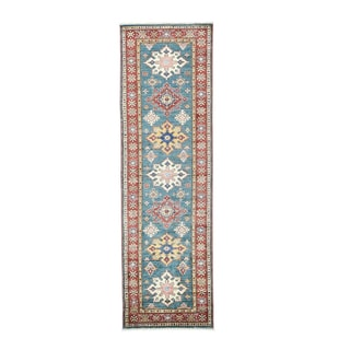 Hand-knotted Teal Blue Geometric Design Wool Super Kazak Runner Rug (2'6 x 8'5)
