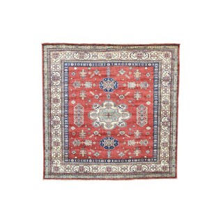 Kazak Red Wool Hand-knotted Square Tribal Design Rug (5'9 x 5'10)