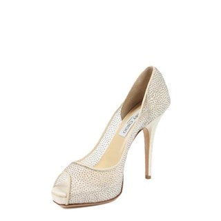 Jimmy Choo 010COMET Glitter Mesh White Fabric Decollete Open Toe
