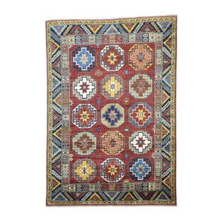 Hand-knotted Wool Afghan Ersari Antiqued Caucasian Design Rug (6'7 x 9'5)