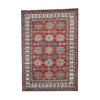 Pure Wool Hand-knotted Super Kazak Tribal Design Rug (6' x 8'6)