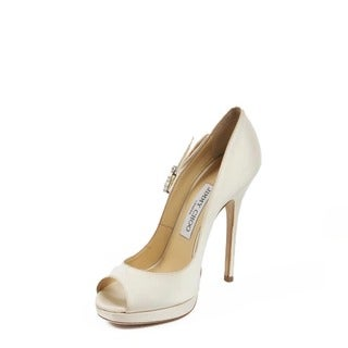 Jimmy Choo Women's Grant Satin Ivory Fabric Decollete Open Toe Shoes