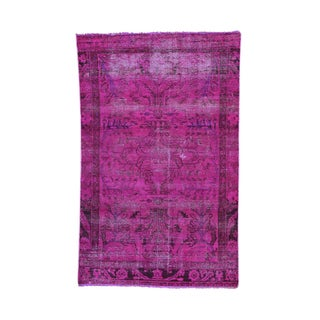 Pink Hand-knotted Worn Overdyed Persian Lilahan Rug (4'4 x 7')