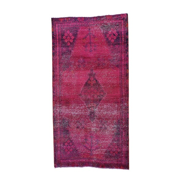 Hand-knotted Wide Runner Overdyed Persian Hamadan Rug - 4'3 x 8'3