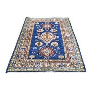 Hand-knotted Denim Blue Tribal Design Wool Super Kazak Rug (3'3 x 4'10)