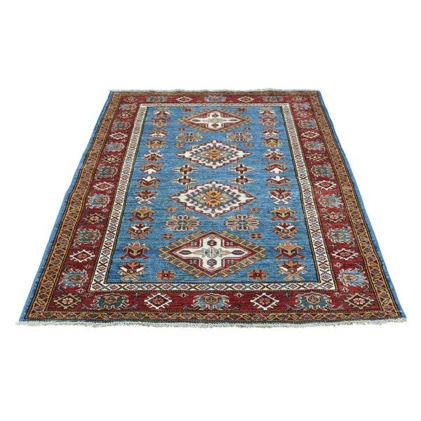 Blue/Multicolor Super Kazak Tribal Design Hand-knotted Rug (3'3 x 4'9)