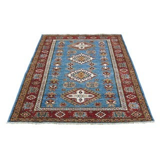 Blue/Multicolor Super Kazak Tribal Design Hand-knotted Rug (3'3 x 4'9)
