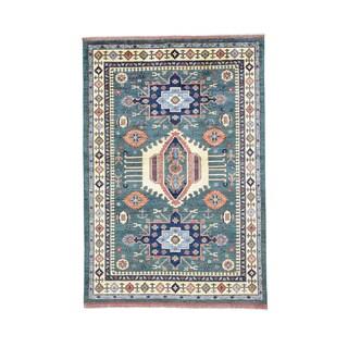 Blue Wool Hand-knotted Afghan Ersari Caucasian Motifs Rug (5'7 x 8'4)