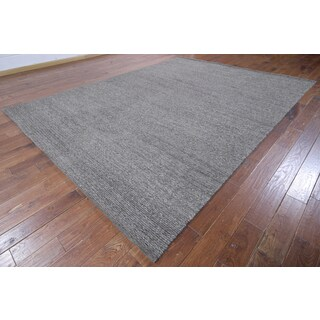 Grey Wool Hand-knotted Oriental Moroccan Rug (9'1 x 12'1)