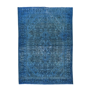 Persian Bibikabad Over-dyed Denim Blue Handmade Rug (6'8 x 9'5)
