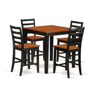 Counter Height Black and Tan Pub Set (5-piece Set)