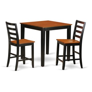 PBFA3-BLK-W 3-piece Counter Height Dining Table Set