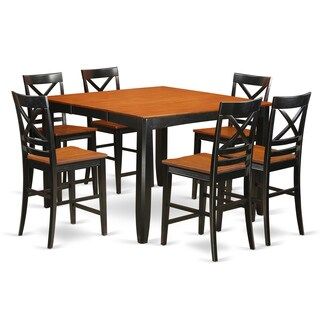FAQU9H-BLK-W Black Rubberwood 9-piece Counter Height Dining Set - N/A