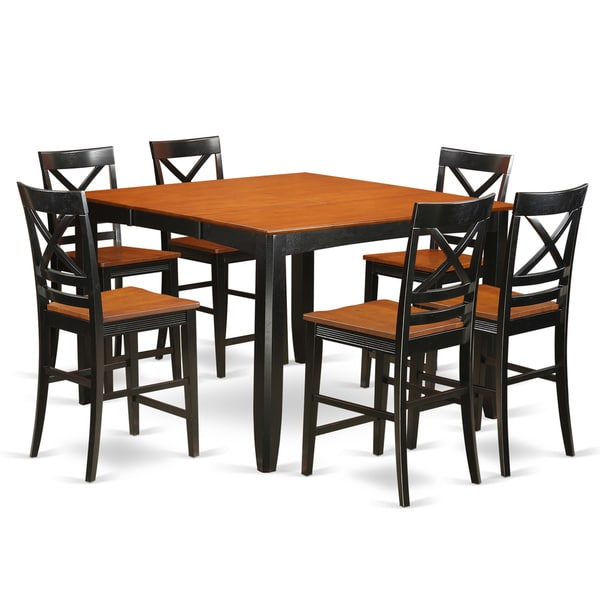 Bar Stool Dining Set: FAQU7H-BLK-W 6-stool 7-piece Counter-height Dining Table