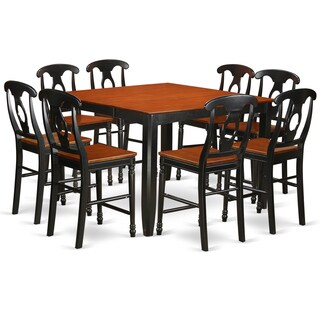 FAKE9H-BLK-W Black Rubberwood Nine-piece Counter Height Pub Set with Table and Eight Dining Room Chairs - N/A