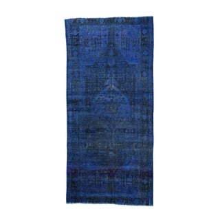 Persian Nahavand Pure Wool Overdyed Wide Runner Rug (4'9 x 10'2)