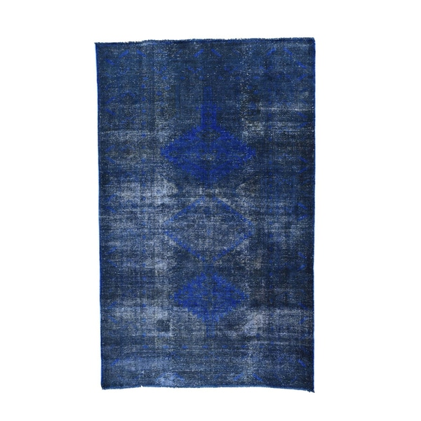 Persian Hamadan Blue Wool Overdyed Handmade Rug