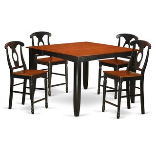 FAKE5H-BLK-W Black/Cherry Rubberwood Counter-height Pub Dining Table Set With 4 Chairs