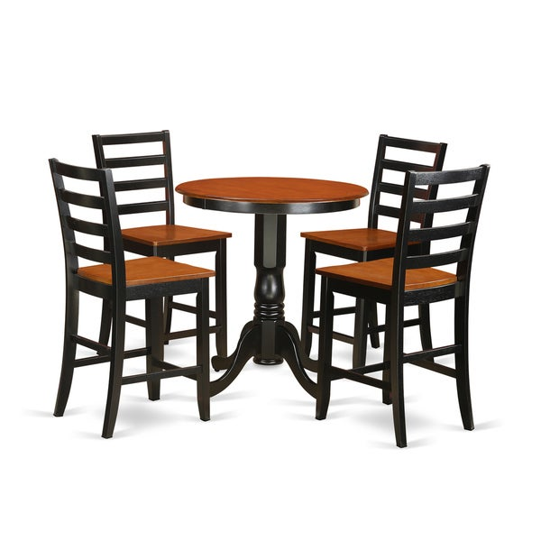 EDFA5-BLK-W Black Rubberwood 5-piece Dining Set Including