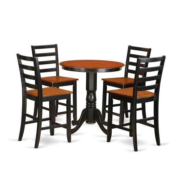 Black Pub Dining Set: Shop EDFA5-BLK-W Black Rubberwood 5-piece Dining Set