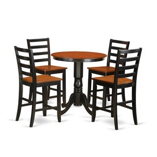 EDFA5-BLK-W Black Rubberwood 5-piece Dining Set Including Pub Table and 4-dinette Chairs