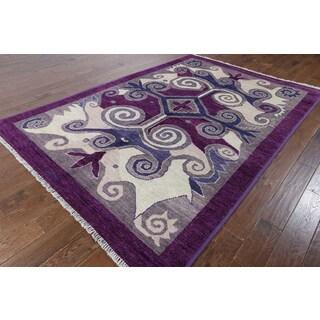 Purple Wool Hand-knotted Oriental Kaitag Rug (6'3 x 9'0)