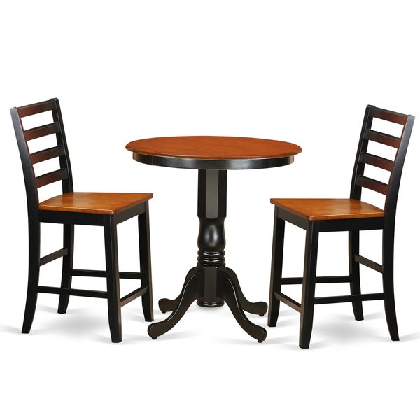 Roundhill Furniture 3 Piece Counter Height Pub Table Set: Shop Black Rubberwood 2-stool 3-piece Counter-height Pub