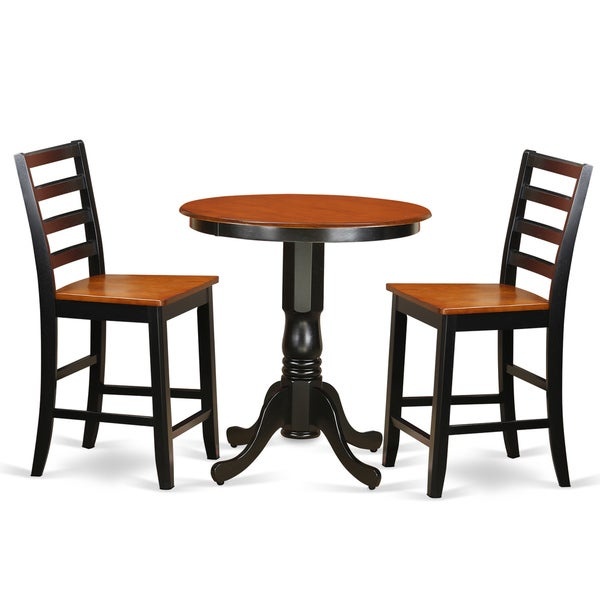 Black rubberwood 2 stool 3 piece counter height pub table for Bar stool kitchen table sets