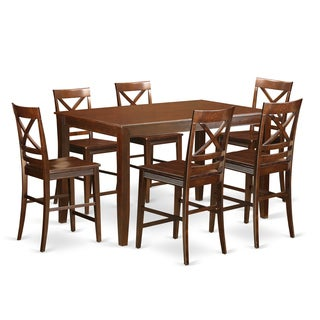 DUQU7H-MAH-W High Top Table 6-stool 7-piece Counter-height Dining Set
