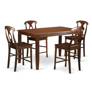 Black And Cherry Finish Natural Rubberwood 5 Piece Dining