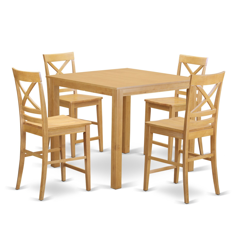 Oak Finish Rubberwood 5-piece Dining Room Pub Set with Sq...