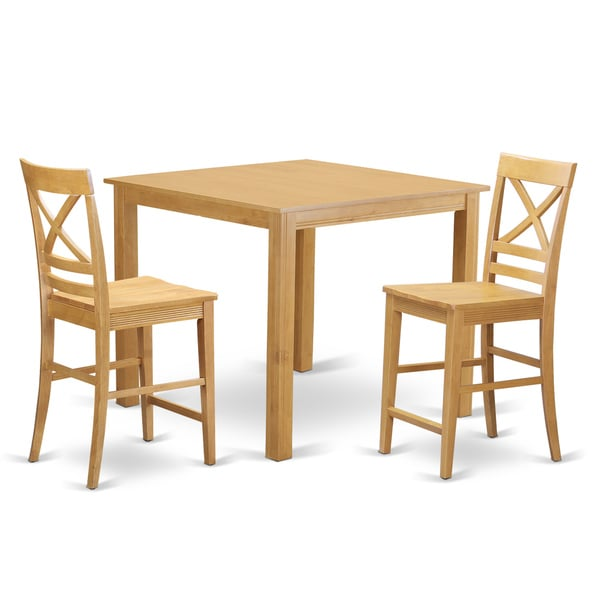 Oak finish rubberwood 3 piece dining room pub set with for 3 piece dining room table