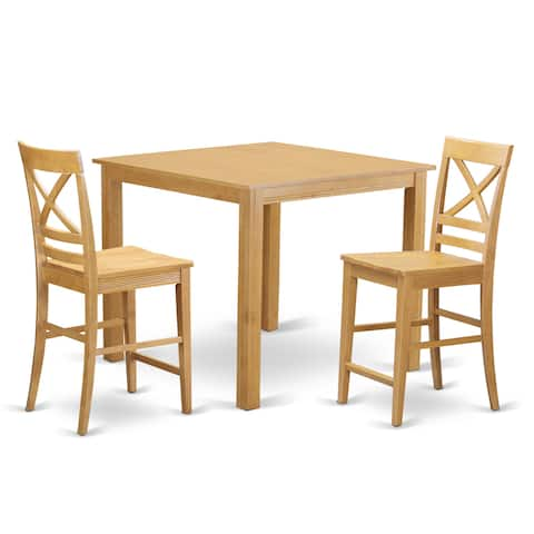 Oak Finish Rubberwood 3-piece Dining Room Pub Set with Counter-height Table and 2 Chairs