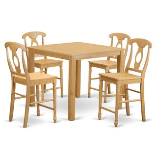 Natural-finished Rubberwood Counter-height 5-piece Dining Set