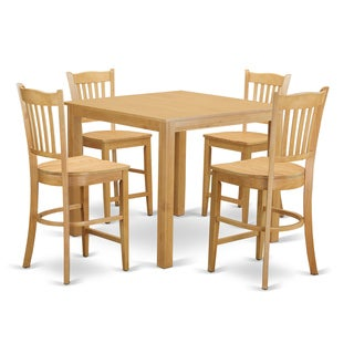 Oak Finish Rubberwood 5-piece Dining Room Pub Set with Counter-height Table and 4 Chairs