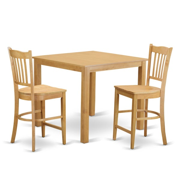 3 Pcs Modern Counter Height Dining Set Table And 2 Chairs: Shop Oak Finish Rubberwood 3-piece Dining Room Pub Set