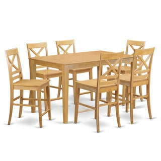 Traditional Oak Rubberwood 7-piece Counter-height Table and Chair Set